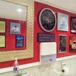Facing wall in washroom / toilet