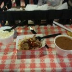 Pulled pork, cream corn, Rudy's beans