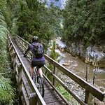biking charming creek walkway behind us