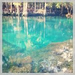 This has been Instagrammed a little, but the springs are really this same blue during the day.