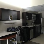 Desk and kitchenette