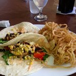 Blackened chicken tacos and frings