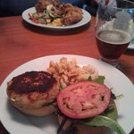 Crab Cake Sandwich with New Castle mac and cheese