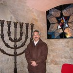 Gary in the synagogue in Barcelona