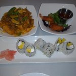 red curry, mini shrimp rolls, sushi roll