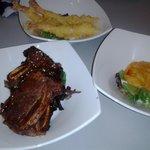 shrimp tempura, yam tempura, beef short ribs