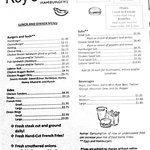 Roy's lunch & dinner menu