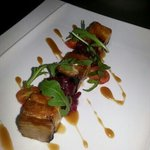 belly pork with teryaki and honey dressing