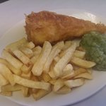 Chunky Cod, Chips, Peas, Mug of Tea, £5.95