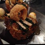 BRAISED PORK BELLY WITH CRACKLING, ENGLISH SPINACH, BOILED QUAIL EGGS SERVED WITH FIVE SPICE