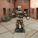 Modern art sculpture in courtyard