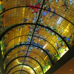 Stained glass ceiling in dining room