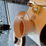 クラブラウンジから見る景色とお茶