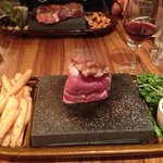 Eye fillet cooked on hot stone