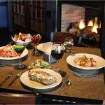 Dinner is served fireside