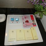 complimentary facial masks and face foam