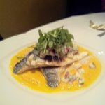 Seabass with carrot puree