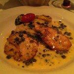 Chicken piccata Francaise with capellini pasta.  Great combination !