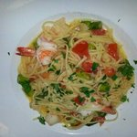 Linguine with shrimp in garlic olive oil, asparagus,  fresh tomatoes