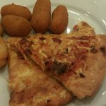 pizza and croquettes