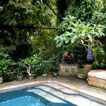 Hindhu shrine in corner of pool area