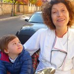 Chef Laura with her grandson Biagio outside the hotel...