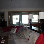 Living room area for B&B guest, with view of sunroom
