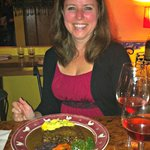 Jill and her ENTRECÔTE au POIVRE - Pan-seared sirloin steak with Chez Papa's signature pepper sa
