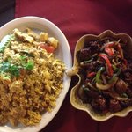 Pineapple fried rice and Mongolian beef
