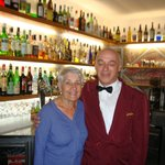 Waiter Antonio with bar in background