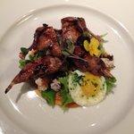 Quail appetizer, with quail eggs....so delicious!