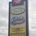 Sign out on the highway. AALTOS Garden Cafe  |  2401 Saskatchewan Ave. W., Portage la Prairie, M