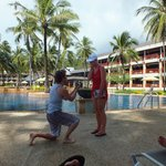 My fiance' proposing to me infront of our favourite pool in Katathani!