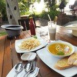 French Fries; Pumpkin soup & Banana juice