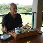 Mike serving tea Chinese style
