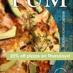 Pizza night on Thursdays! 25% off pizzas from the menu