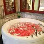 Our beautifully decorated Bathroom with Jasmine and Rose Petals on our Anniversary!