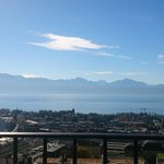 The view from the sixth-floor balcony over Lake Geneva