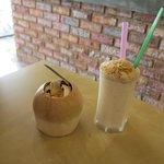 coconut ice cream and coconut shake
