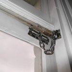 security door chain on window note gap in window frame