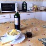 Dinner in the kitchen of the pilgrims hostel