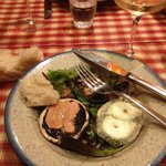 Galipettes: local mushrooms topped with fois gras, chevre and rillettes