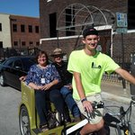 These folks are enjoying a Pedicab Restaurant Tour and a concert at the BOK Center!