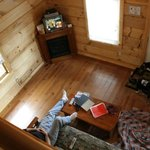 A look from the loft into the living area