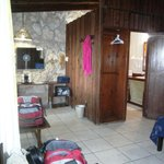 inside the room - shows the bathroom and desk area