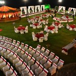 wedding reception arrangement at the lawn