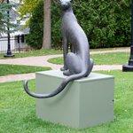 """Bronze sculpture in sculpture garden """"Sitting Cheetah"""" - Gwynn Murrill"""