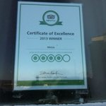 Certificate of excellence.