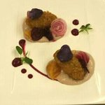 dark croquettes beetroot and smoked potato foam