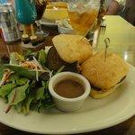 Meatloaf sandwich with side salad